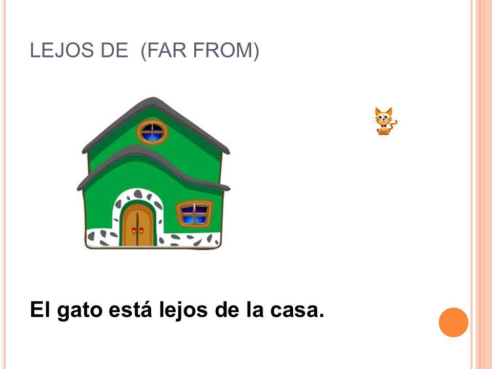 LEJOS DE (FAR FROM) El gato está lejos de la casa.