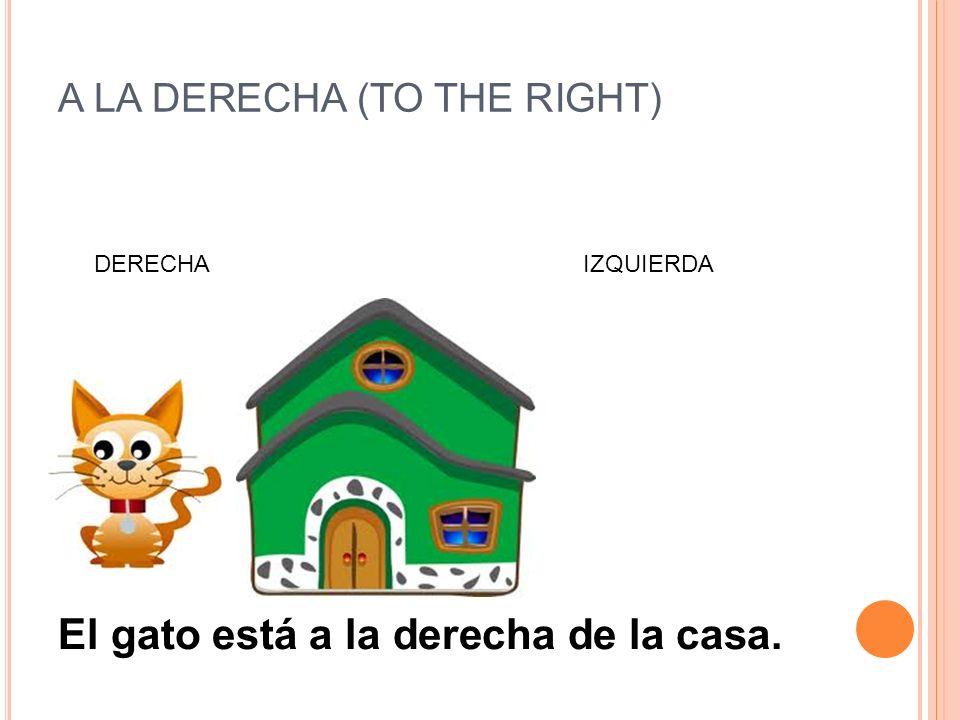 LEJOS DE (FAR FROM) DERECHAIZQUIERDA El gato está a la izquierda de la casa.