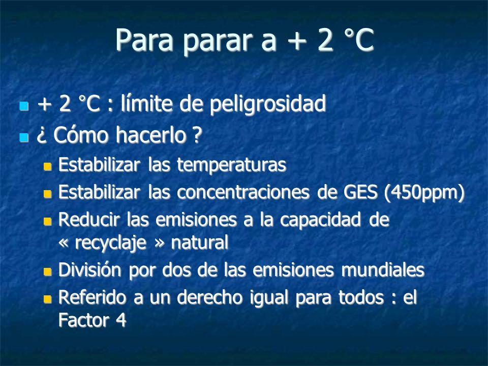Para parar a + 2 °C + 2 °C : límite de peligrosidad + 2 °C : límite de peligrosidad ¿ Cómo hacerlo .