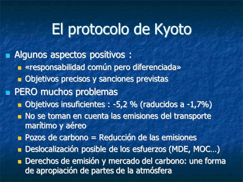 El protocolo de Kyoto Algunos aspectos positivos : Algunos aspectos positivos : «responsabilidad común pero diferenciada» «responsabilidad común pero diferenciada» Objetivos precisos y sanciones previstas Objetivos precisos y sanciones previstas PERO muchos problemas PERO muchos problemas Objetivos insuficientes : -5,2 % (raducidos a -1,7%) Objetivos insuficientes : -5,2 % (raducidos a -1,7%) No se toman en cuenta las emisiones del transporte marítimo y aéreo No se toman en cuenta las emisiones del transporte marítimo y aéreo Pozos de carbono = Reducción de las emisiones Pozos de carbono = Reducción de las emisiones Deslocalización posible de los esfuerzos (MDE, MOC…) Deslocalización posible de los esfuerzos (MDE, MOC…) Derechos de emisión y mercado del carbono: une forma de apropiación de partes de la atmósfera Derechos de emisión y mercado del carbono: une forma de apropiación de partes de la atmósfera
