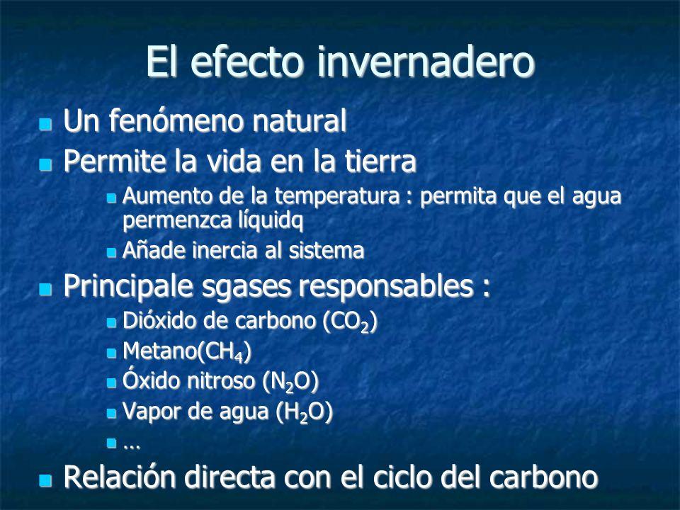 El efecto invernadero Un fenómeno natural Un fenómeno natural Permite la vida en la tierra Permite la vida en la tierra Aumento de la temperatura : permita que el agua permenzca líquidq Aumento de la temperatura : permita que el agua permenzca líquidq Añade inercia al sistema Añade inercia al sistema Principale sgases responsables : Principale sgases responsables : Dióxido de carbono (CO 2 ) Dióxido de carbono (CO 2 ) Metano(CH 4 ) Metano(CH 4 ) Óxido nitroso (N 2 O) Óxido nitroso (N 2 O) Vapor de agua (H 2 O) Vapor de agua (H 2 O) … Relación directa con el ciclo del carbono Relación directa con el ciclo del carbono