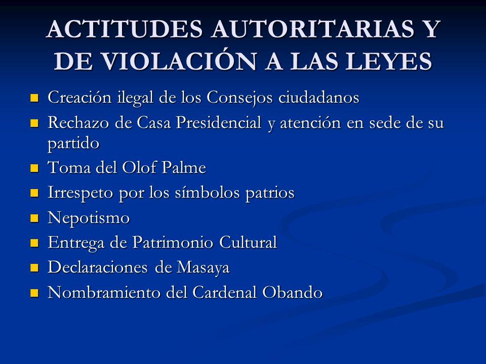 ACTITUDES AUTORITARIAS Y DE VIOLACIÓN A LAS LEYES Creación ilegal de los Consejos ciudadanos Creación ilegal de los Consejos ciudadanos Rechazo de Cas