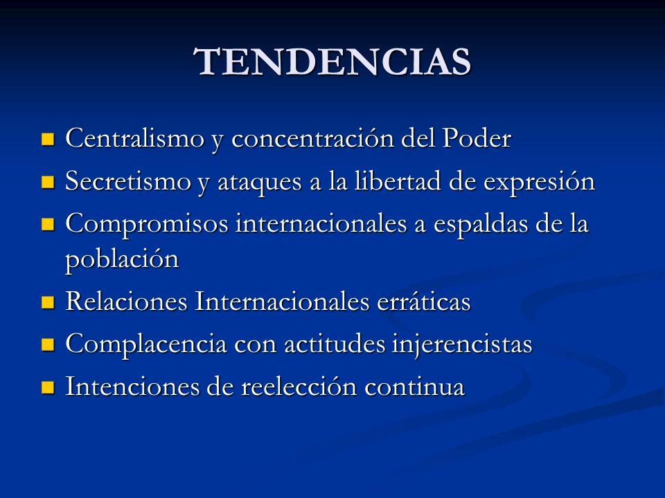 TENDENCIAS Centralismo y concentración del Poder Centralismo y concentración del Poder Secretismo y ataques a la libertad de expresión Secretismo y at