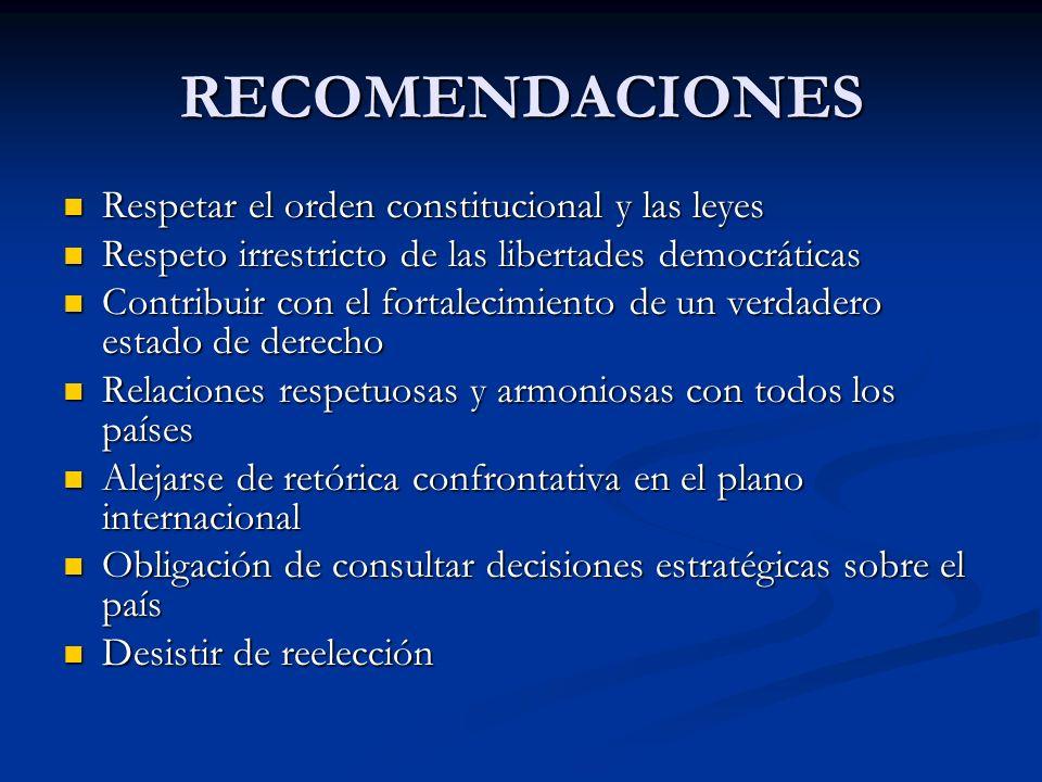 RECOMENDACIONES Respetar el orden constitucional y las leyes Respetar el orden constitucional y las leyes Respeto irrestricto de las libertades democr