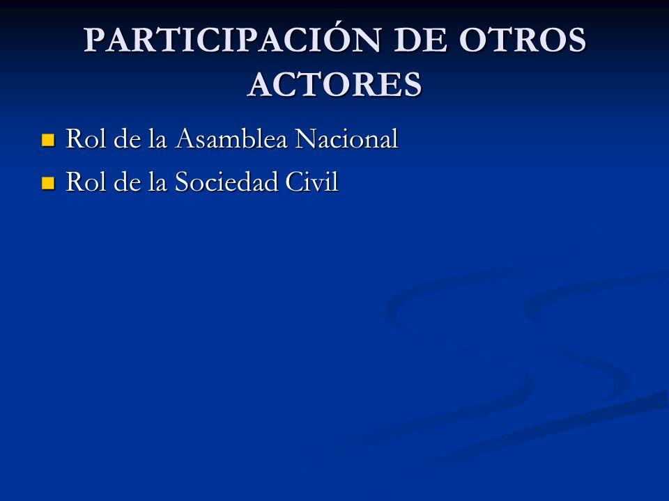 PARTICIPACIÓN DE OTROS ACTORES Rol de la Asamblea Nacional Rol de la Asamblea Nacional Rol de la Sociedad Civil Rol de la Sociedad Civil