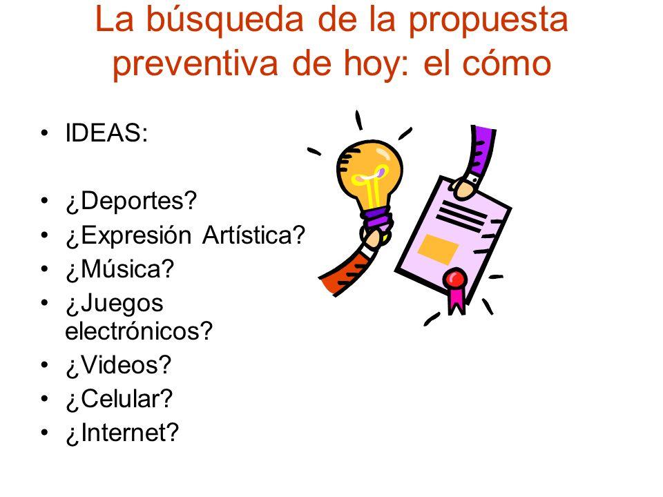 La búsqueda de la propuesta preventiva de hoy: el cómo IDEAS: ¿Deportes? ¿Expresión Artística? ¿Música? ¿Juegos electrónicos? ¿Videos? ¿Celular? ¿Inte