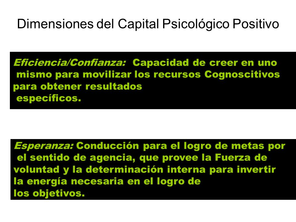Dimensiones del Capital Psicológico Positivo Eficiencia/Confianza: Capacidad de creer en uno mismo para movilizar los recursos Cognoscitivos para obte