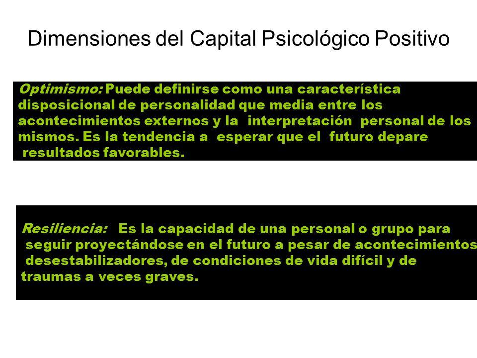 Dimensiones del Capital Psicológico Positivo Optimismo: Puede definirse como una característica disposicional de personalidad que media entre los acon