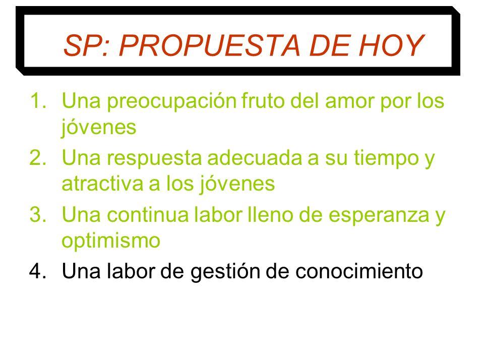 SP: PROPUESTA DE HOY 1.Una preocupación fruto del amor por los jóvenes 2.Una respuesta adecuada a su tiempo y atractiva a los jóvenes 3.Una continua l
