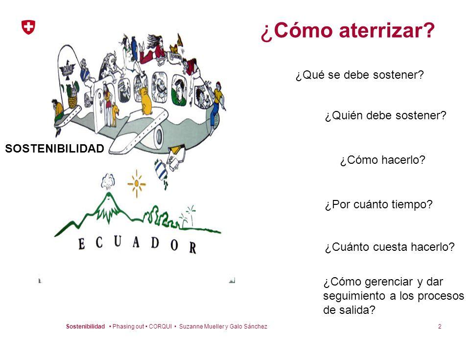 2Sostenibilidad Phasing out CORQUI Suzanne Mueller y Galo Sánchez ¿ Cómo aterrizar? ¿Qué se debe sostener? ¿Quién debe sostener? ¿Por cuánto tiempo? ¿