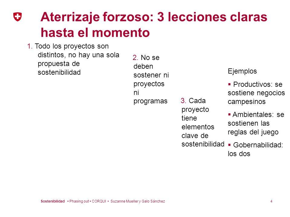 4Sostenibilidad Phasing out CORQUI Suzanne Mueller y Galo Sánchez Aterrizaje forzoso: 3 lecciones claras hasta el momento 1. Todo los proyectos son di