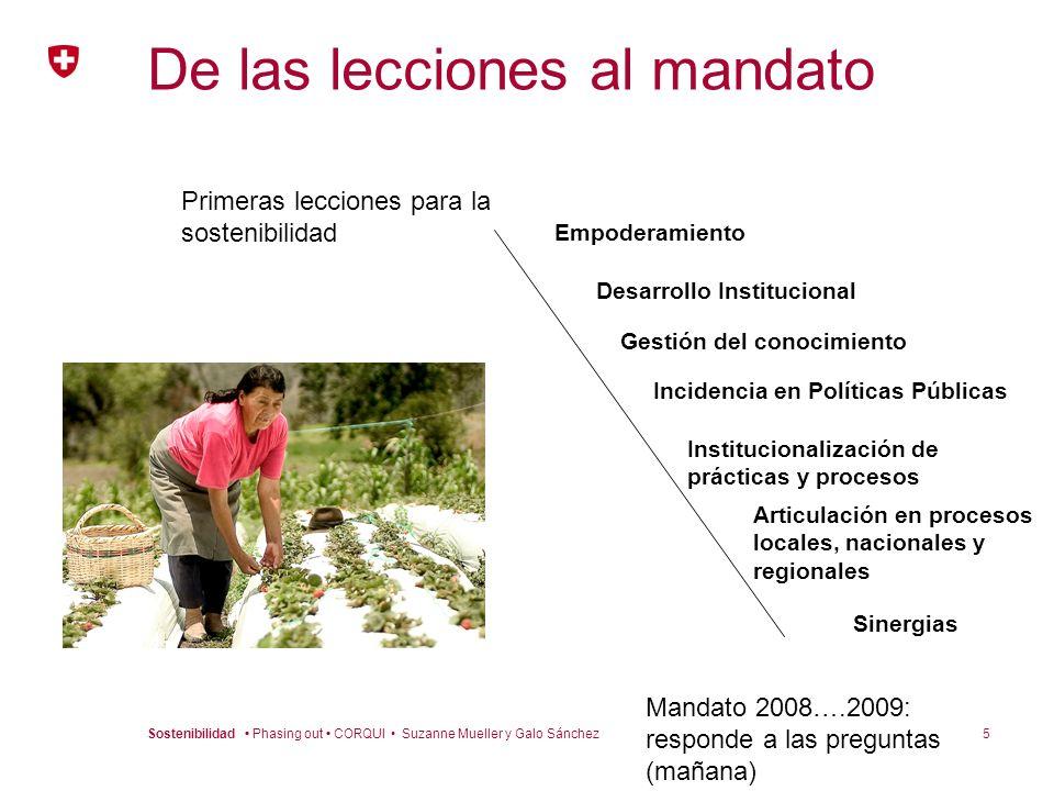 5Sostenibilidad Phasing out CORQUI Suzanne Mueller y Galo Sánchez De las lecciones al mandato Primeras lecciones para la sostenibilidad Mandato 2008….