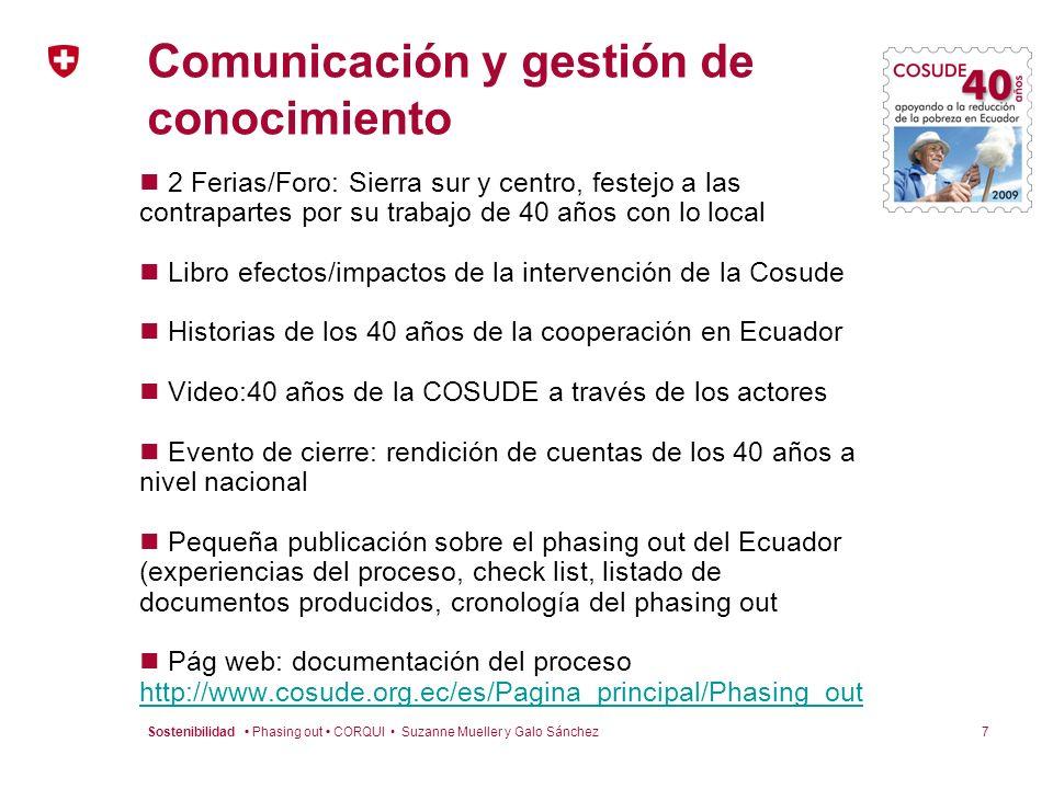 7Sostenibilidad Phasing out CORQUI Suzanne Mueller y Galo Sánchez Comunicación y gestión de conocimiento 2 Ferias/Foro: Sierra sur y centro, festejo a