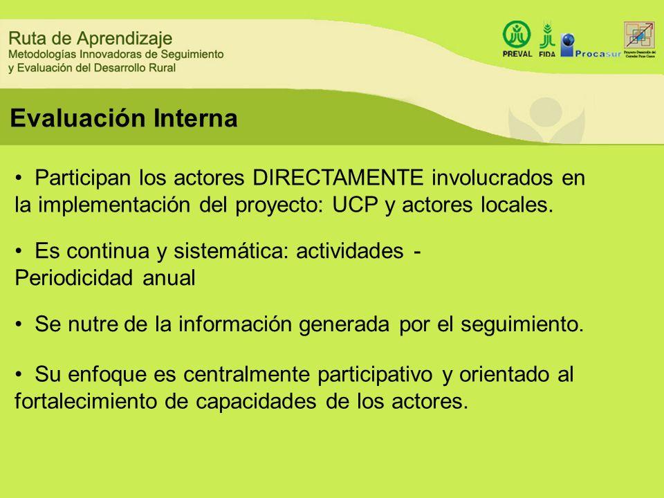 Evaluación Interna Participan los actores DIRECTAMENTE involucrados en la implementación del proyecto: UCP y actores locales. Es continua y sistemátic