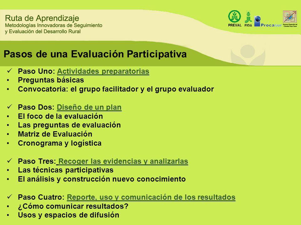 Pasos de una Evaluación Participativa Actividades preparatorias Paso Uno: Actividades preparatorias Preguntas básicas Convocatoria: el grupo facilitad