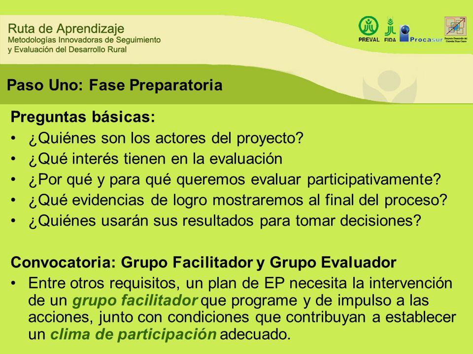 Paso Uno: Fase Preparatoria Preguntas básicas: ¿Quiénes son los actores del proyecto? ¿Qué interés tienen en la evaluación ¿Por qué y para qué queremo