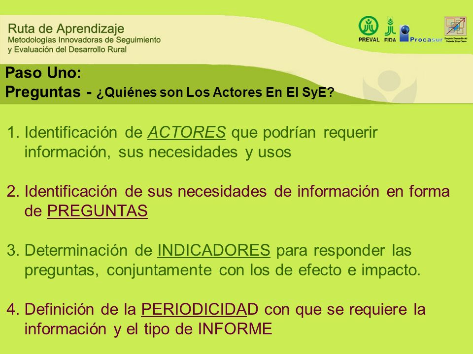 Paso Uno: Preguntas - ¿Quiénes son Los Actores En El SyE? 1.Identificación de ACTORES que podrían requerir información, sus necesidades y usos 2.Ident