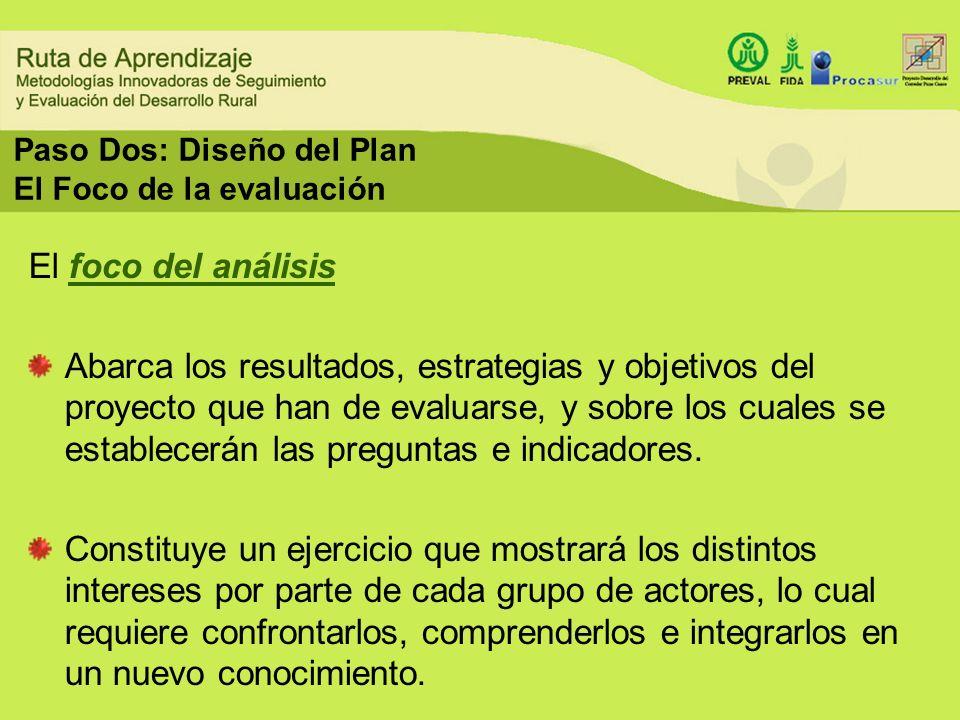 Paso Dos: Diseño del Plan El Foco de la evaluación El foco del análisis Abarca los resultados, estrategias y objetivos del proyecto que han de evaluar