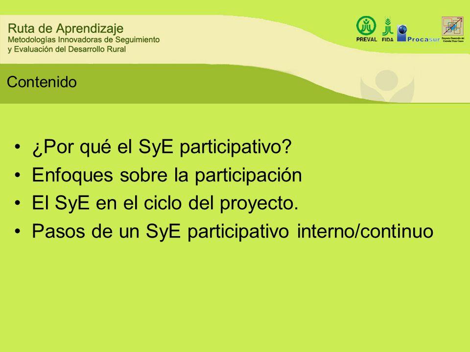 Contenido ¿Por qué el SyE participativo? Enfoques sobre la participación El SyE en el ciclo del proyecto. Pasos de un SyE participativo interno/contin