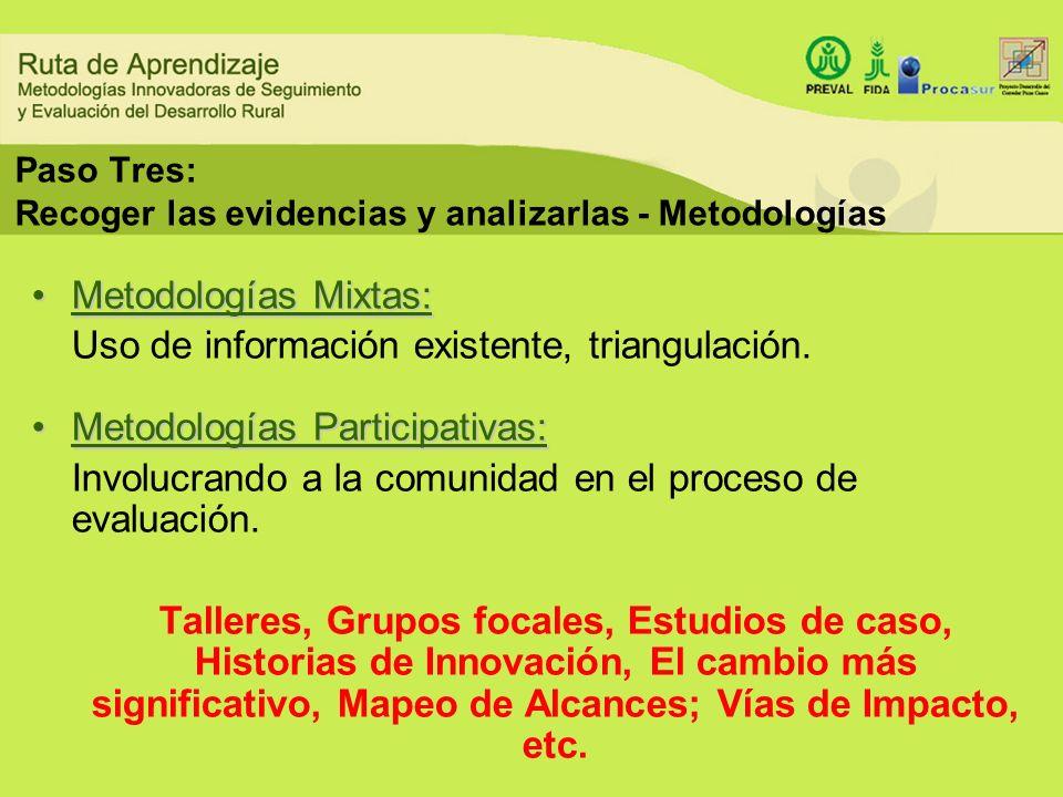 Paso Tres: Recoger las evidencias y analizarlas - Metodologías Metodologías Mixtas:Metodologías Mixtas: Uso de información existente, triangulación. M