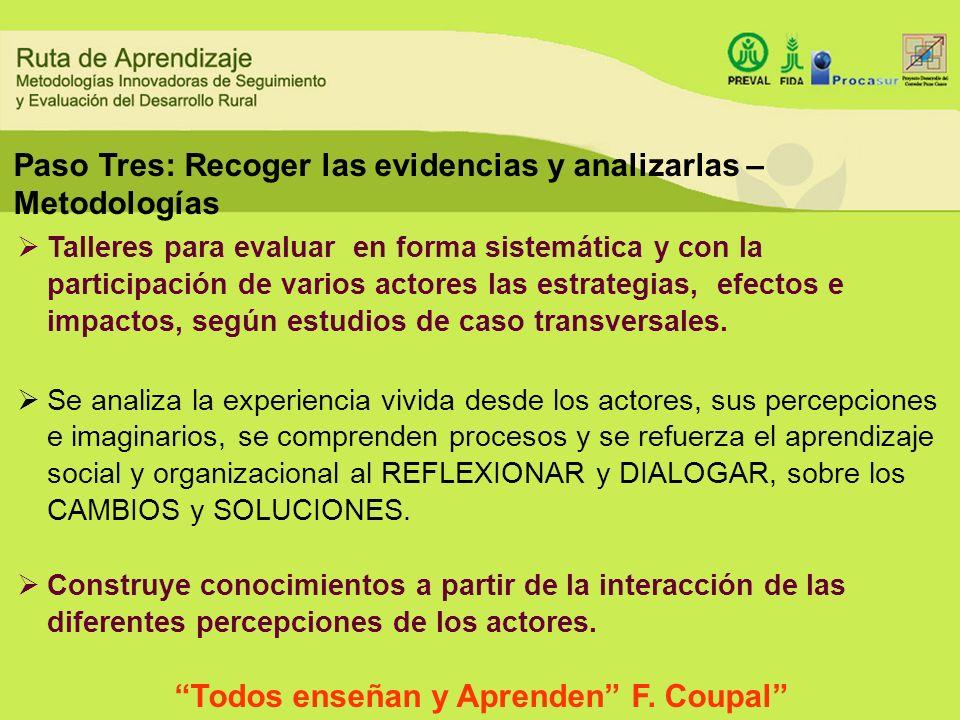 Paso Tres: Recoger las evidencias y analizarlas – Metodologías Talleres para evaluar en forma sistemática y con la participación de varios actores las