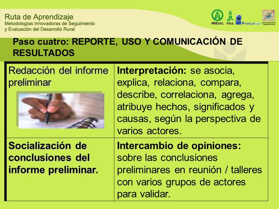 Redacción del informe preliminar Interpretación: se asocia, explica, relaciona, compara, describe, correlaciona, agrega, atribuye hechos, significados