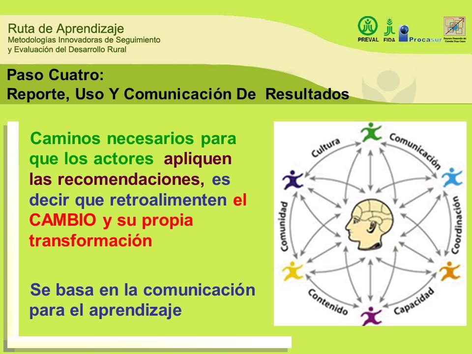Paso Cuatro: Reporte, Uso Y Comunicación De Resultados Caminos necesarios para que los actores apliquen las recomendaciones, es decir que retroaliment