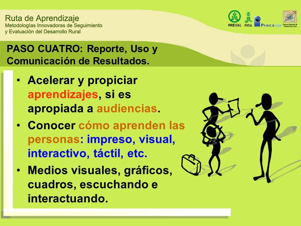 PASO CUATRO: Reporte, Uso y Comunicación de Resultados. Acelerar y propiciar aprendizajes, si es apropiada a audiencias. Conocer cómo aprenden las per