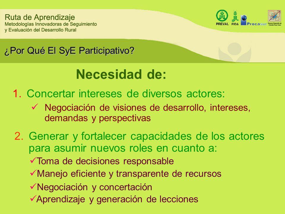 ¿Por Qué El SyE Participativo? 1.Concertar intereses de diversos actores: Necesidad de: Negociación de visiones de desarrollo, intereses, demandas y p