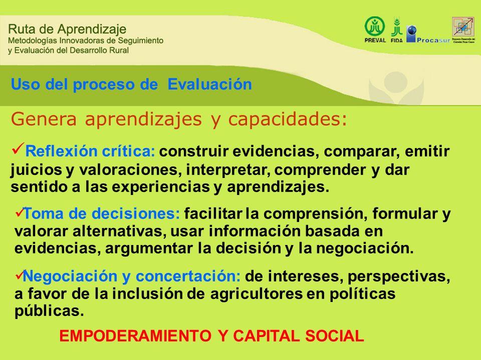 COMUNICACION + USO = APRENDIZAJE El factor central en la evaluación es el aprendizaje.