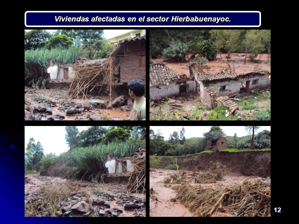 12 Viviendas afectadas en el sector Hierbabuenayoc.
