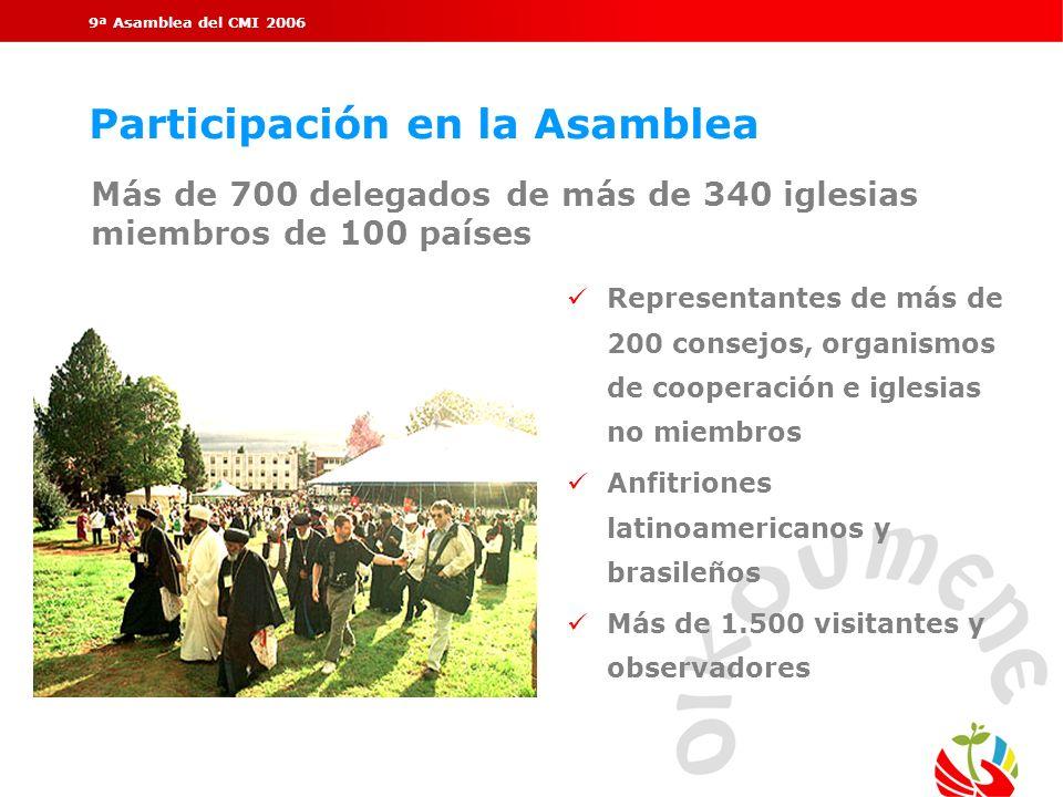 9ª Asamblea del CMI 2006 Participación en la Asamblea Representantes de más de 200 consejos, organismos de cooperación e iglesias no miembros Anfitrio