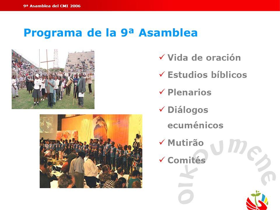 9ª Asamblea del CMI 2006 Programa de la 9ª Asamblea Vida de oración Estudios bíblicos Plenarios Diálogos ecuménicos Mutirão Comités