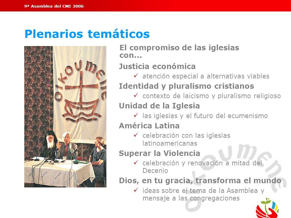 9ª Asamblea del CMI 2006 Plenarios temáticos El compromiso de las iglesias con... Justicia económica ü atención especial a alternativas viables Identi