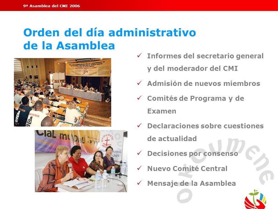 9ª Asamblea del CMI 2006 Orden del día administrativo de la Asamblea üInformes del secretario general y del moderador del CMI üAdmisión de nuevos miem