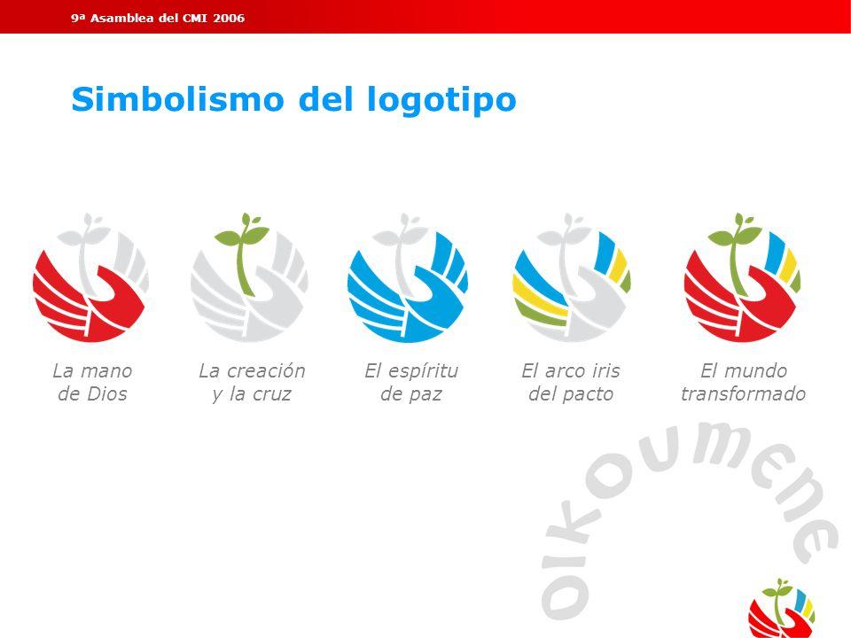 9ª Asamblea del CMI 2006 Simbolismo del logotipo La mano de Dios La creación y la cruz El espíritu de paz El arco iris del pacto El mundo transformado
