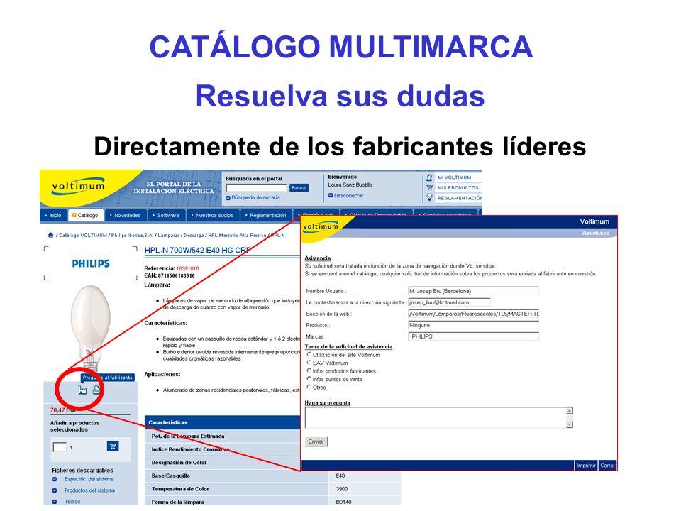 Resuelva sus dudas Directamente de los fabricantes líderes CATÁLOGO MULTIMARCA