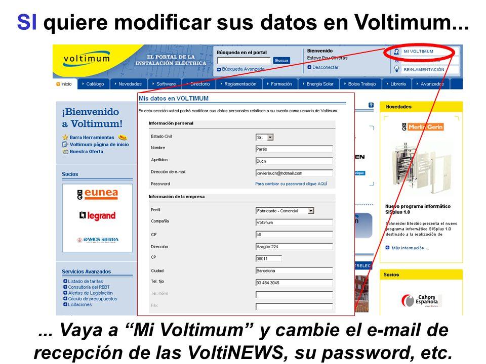 SI quiere modificar sus datos en Voltimum...... Vaya a Mi Voltimum y cambie el e-mail de recepción de las VoltiNEWS, su password, etc.