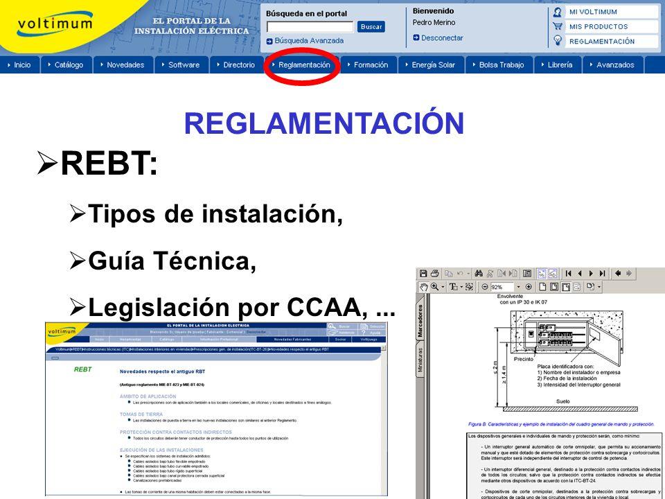 REBT: Tipos de instalación, Guía Técnica, Legislación por CCAA,... REGLAMENTACIÓN