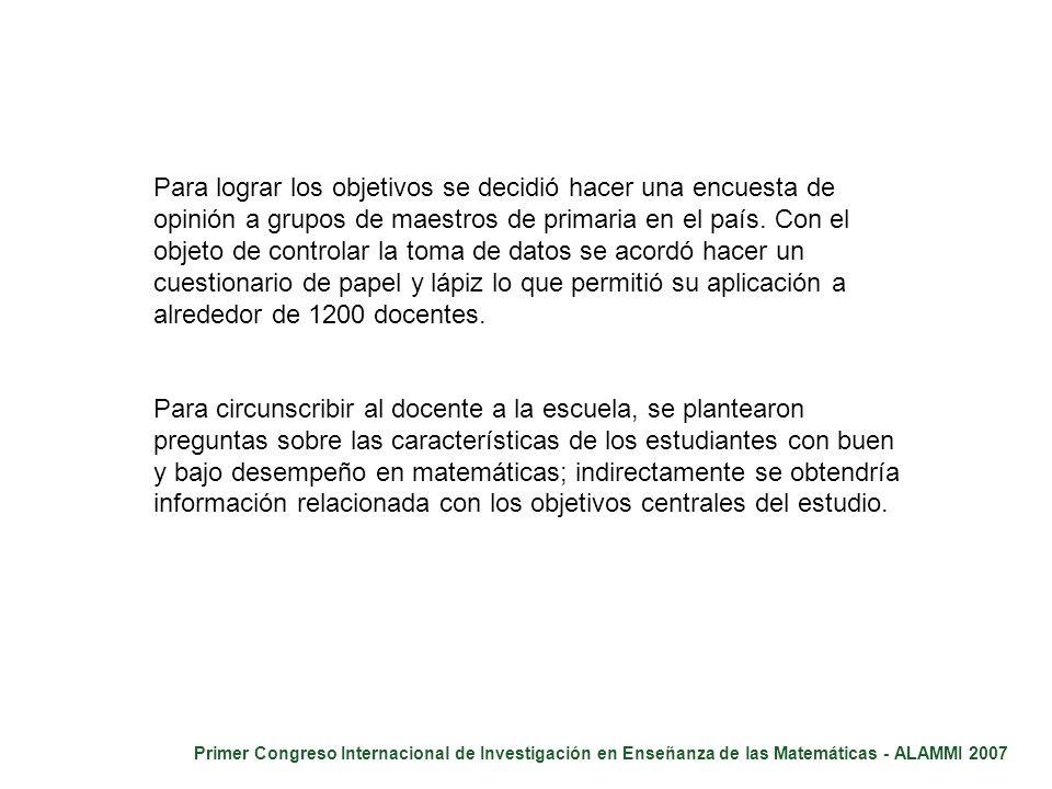 Primer Congreso Internacional de Investigación en Enseñanza de las Matemáticas - ALAMMI 2007 Para lograr los objetivos se decidió hacer una encuesta d