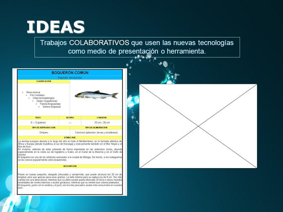 IDEAS Trabajos COLABORATIVOS que usen las nuevas tecnologías como medio de presentación o herramienta.