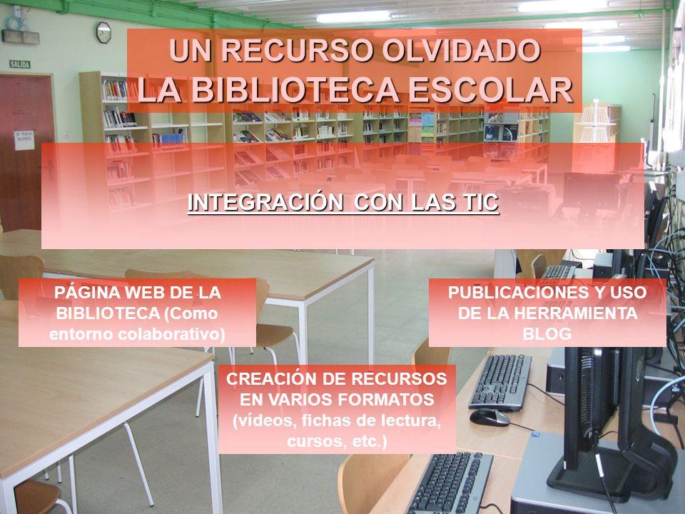 UN RECURSO OLVIDADO LA BIBLIOTECA ESCOLAR INTEGRACIÓN CON LAS TIC PÁGINA WEB DE LA BIBLIOTECA (Como entorno colaborativo) PUBLICACIONES Y USO DE LA HE