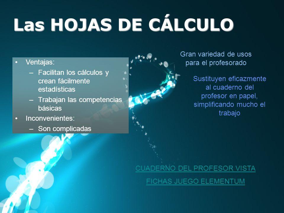 Las HOJAS DE CÁLCULO Ventajas: –Facilitan los cálculos y crean fácilmente estadísticas –Trabajan las competencias básicas Inconvenientes: –Son complic