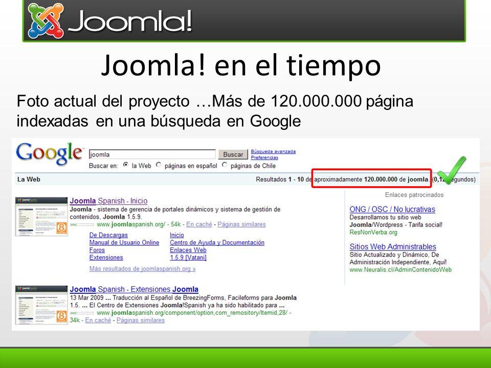 Joomla! en el tiempo Foto actual del proyecto …Más de 120.000.000 página indexadas en una búsqueda en Google