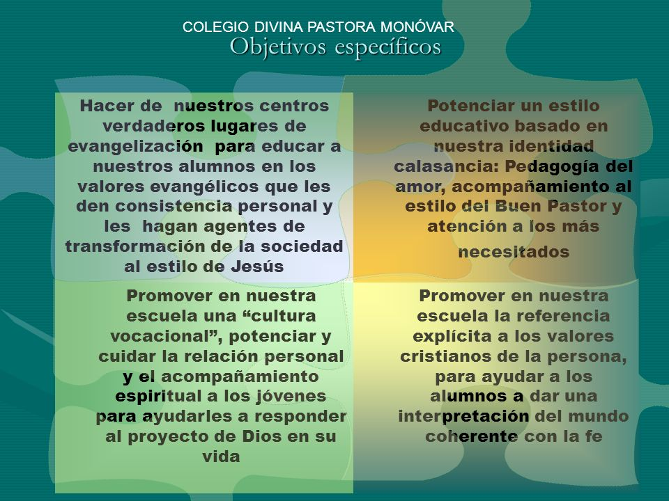 Objetivos específicos Hacer de nuestros centros verdaderos lugares de evangelización para educar a nuestros alumnos en los valores evangélicos que les