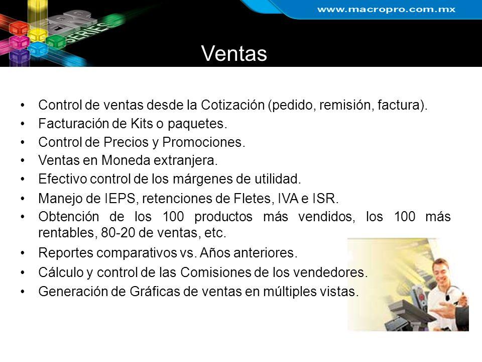 Ventas Control de ventas desde la Cotización (pedido, remisión, factura). Facturación de Kits o paquetes. Control de Precios y Promociones. Ventas en