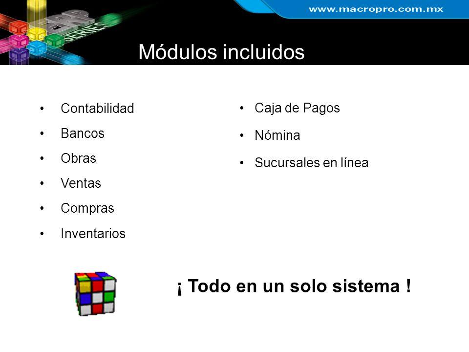 Módulos incluidos Contabilidad Bancos Obras Ventas Compras Inventarios Caja de Pagos Nómina Sucursales en línea ¡ Todo en un solo sistema !