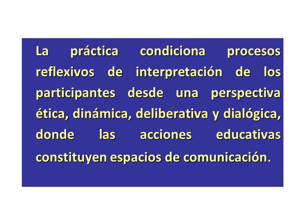 La práctica condiciona procesos reflexivos de interpretación de los participantes desde una perspectiva ética, dinámica, deliberativa y dialógica, don