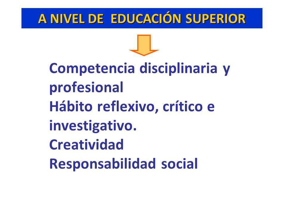 Competencia disciplinaria y profesional Hábito reflexivo, crítico e investigativo. Creatividad Responsabilidad social A NIVEL DE EDUCACIÓN SUPERIOR