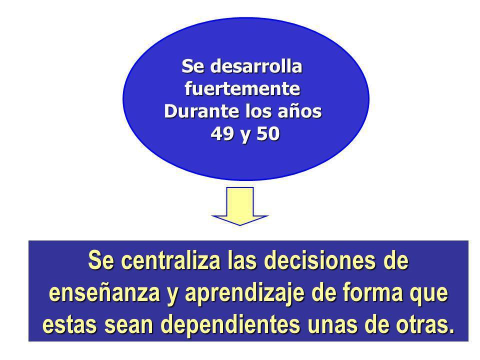 Se desarrolla fuertemente Durante los años 49 y 50 Se centraliza las decisiones de enseñanza y aprendizaje de forma que estas sean dependientes unas d